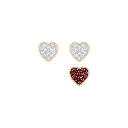 Crystal Wishes Heart 穿孔耳環, 紅色 NT$2,990