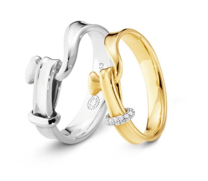 GEORG JENSEN TORUN 204 系列 (左)男士寬版純銀戒指 (右)黃K金鑲鑽戒指 NT$6,800-42,200
