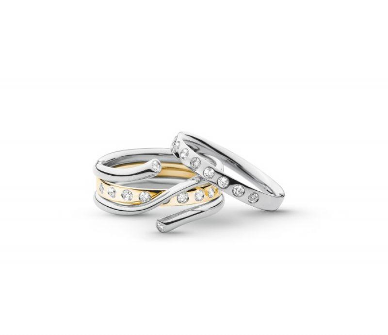 GEORG JENSEN MAGIC系列 白K金.黃K金鑲鑽戒指 NT$42,100