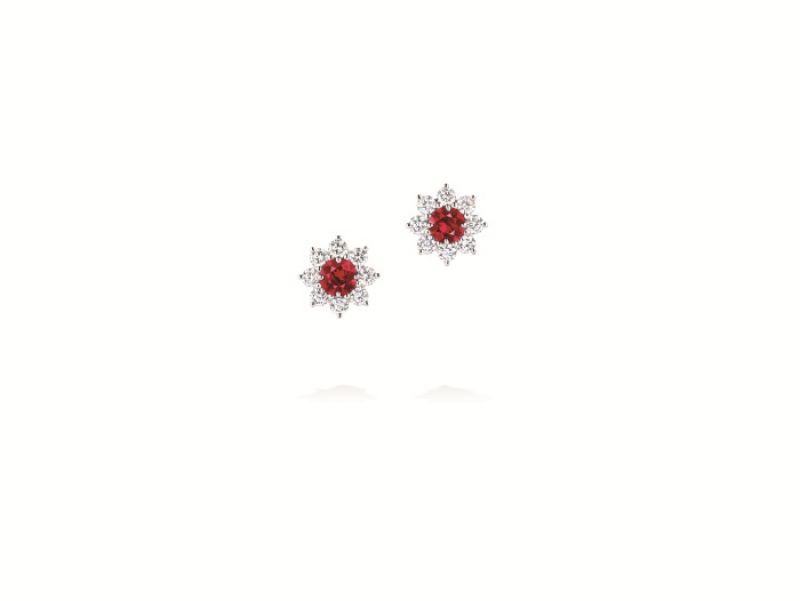 海瑞溫斯頓Sunflower系列緬甸紅寶石鑽石耳環