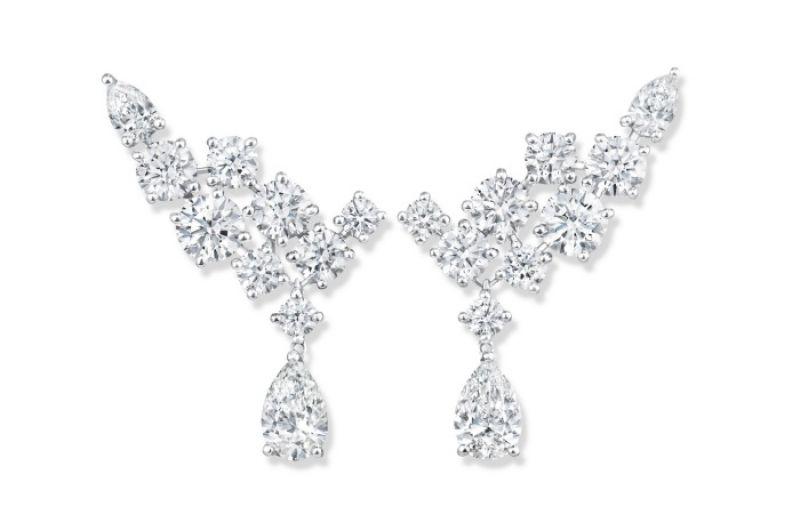 海瑞溫斯頓Sparkling Cluster絢漪錦簇系列鑽石耳墜