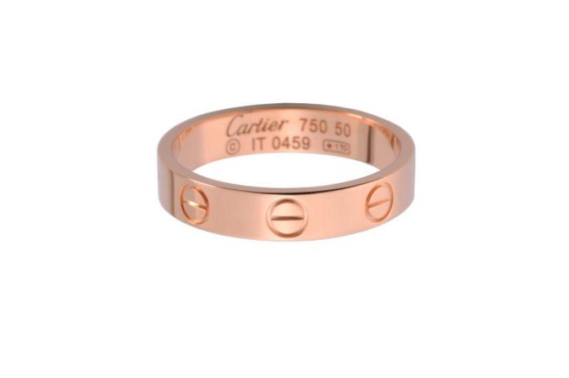 卡地亞LOVE系列玫瑰金戒指 (窄版)玫瑰K金,NTD 32,700