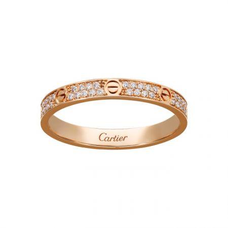 卡地亞LOVE系列全鋪鑲鑽石戒指 (細版)玫瑰K金鋪鑲鑽石,NTD 138,000
