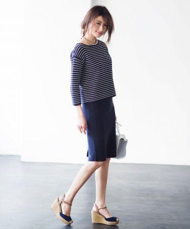 女裝條紋圓領毛衣(7分袖) NT$990