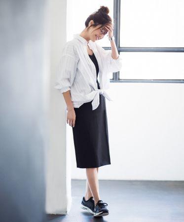 女裝超柔棉寬版條紋長襯衫(長袖) NT$790