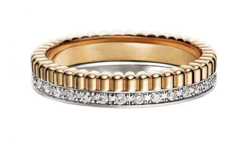林可彤的婚戒Boucheron QUATRE Radiant 黃K金雙環鑲鑽戒指