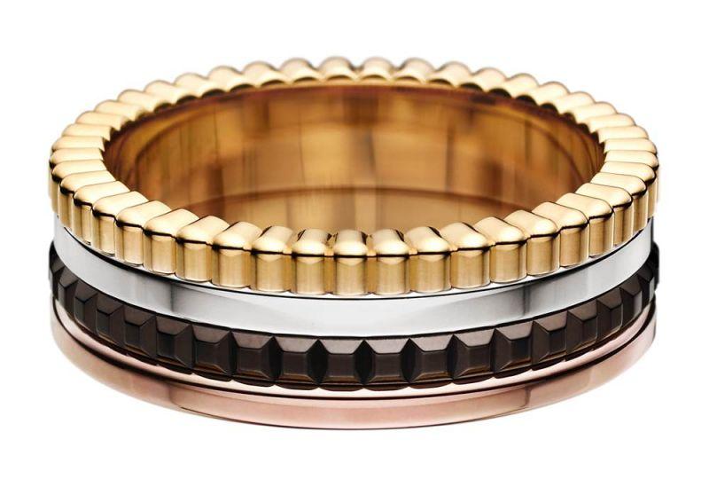 男生的婚戒是有獨一無二的四色K金設計 (18K白金/黃金/玫瑰金/巧克力色PVD)的Boucheron QUATRE Classique 系列窄版戒指