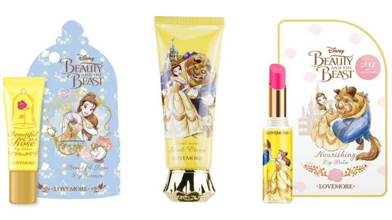以女主角貝兒及野獸為設計靈感的小物,都是女孩們化妝包裡必備的隨身保養小物啊!三款必收 : 潤唇精華、護唇膏以及護手霜
