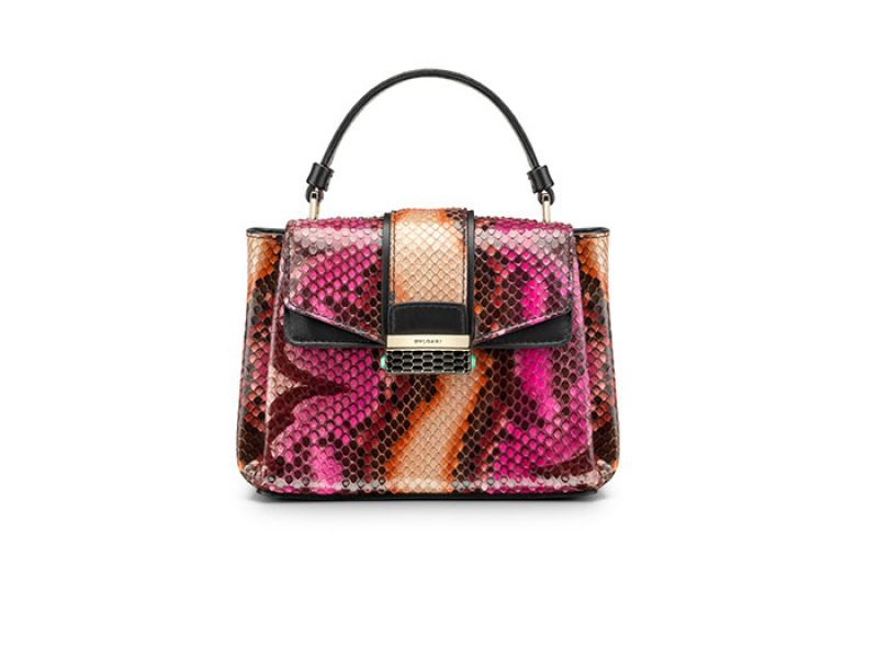 BVLGARI SERPENTI VIPER魔蛇系列暖色調迷幻蟒蛇皮手提包