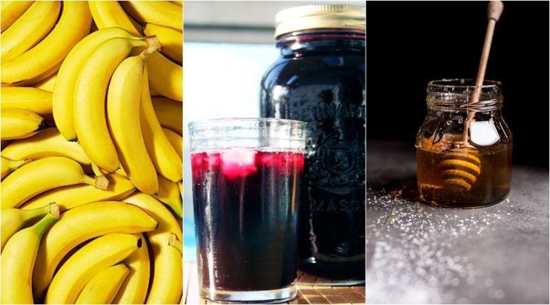 運動前 香蕉、葡萄汁、蜂蜜水