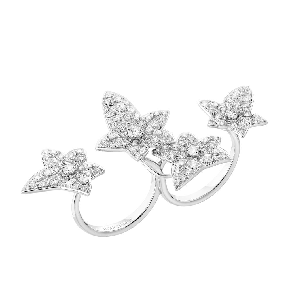白K金鑲鑽石指間戒,Boucheron。