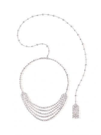 白K金鑲嵌鑽石裝飾項鍊,Piaget。