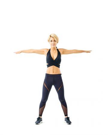 第四招《曬衣繩動作》肚子肥油再見1 身體站直,雙腳張開與肩同寬,雙手往兩側平舉。