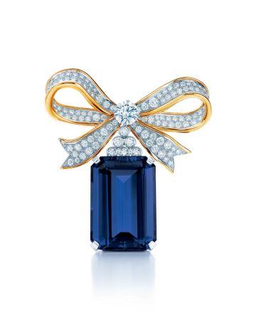 40克拉丹泉石黃k金蝴蝶結鑲鑽胸針,Tiffany & Co.