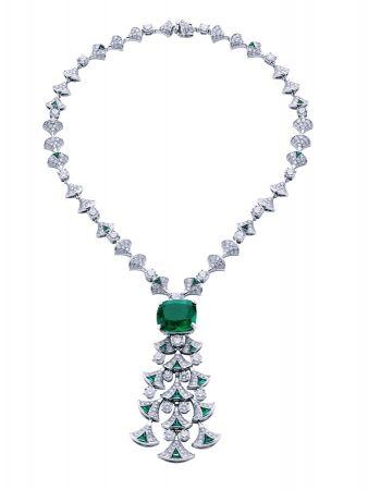 BVLGARI Italian Extravaganza 系列 頂級祖母綠與鑽石鉑金項鍊(262157)