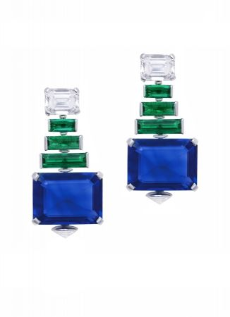 BVLGARI Italian Extravaganza 系列 頂級祖母綠與藍寶石鑽石耳環(260540)