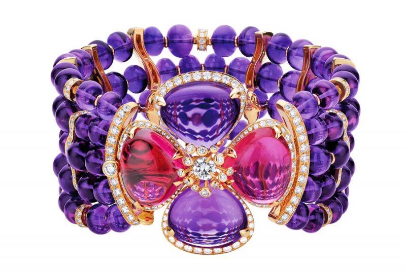 BVLGARI Mediterranean Eden 系列 頂級桃紅碧璽與紫水晶鑲鑽玫瑰金手環(262159)