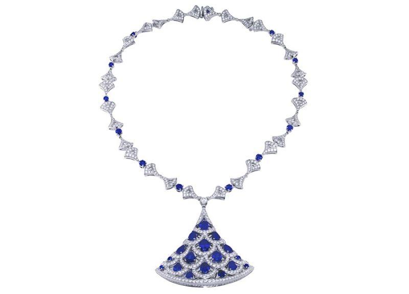 BVLGARI Italian Extravaganza 系列 頂級藍寶石與鑽石白金項鍊(261423)