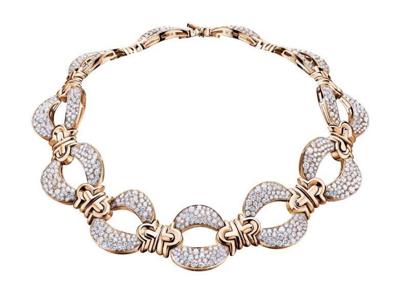 BVLGARI Roman Heritage 系列 Parentesi 鑽石玫瑰金項鍊 (262444)