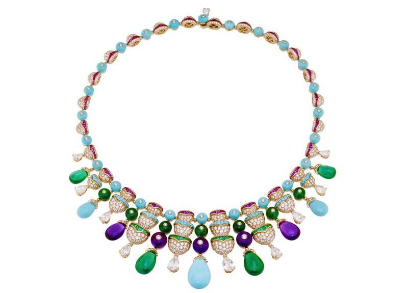 BVLGARI Italian Extravaganza 系列 頂級綠松石,祖母綠,與紫水晶鑲鑽玫瑰金項鍊(261831)