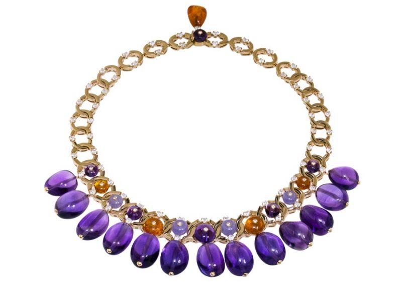 BVLGARI Italian Extravaganza 系列 頂級紫水晶珠寶鑽石玫瑰金項鍊 (262577)