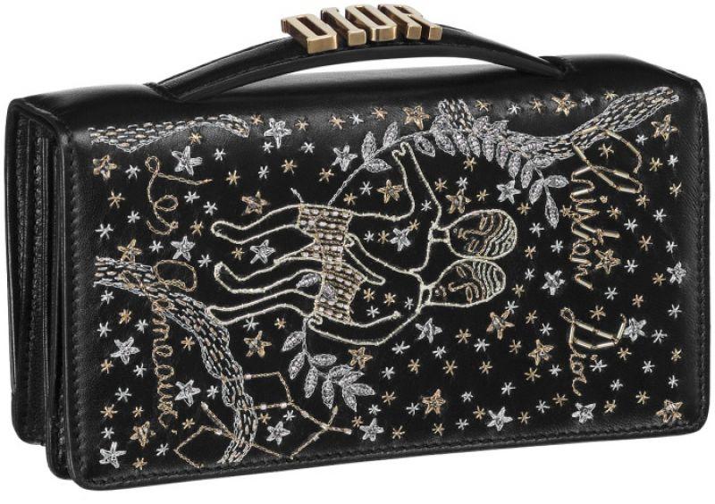 黑色雙子座手工刺繡小羊皮晚宴包 NT$73,000