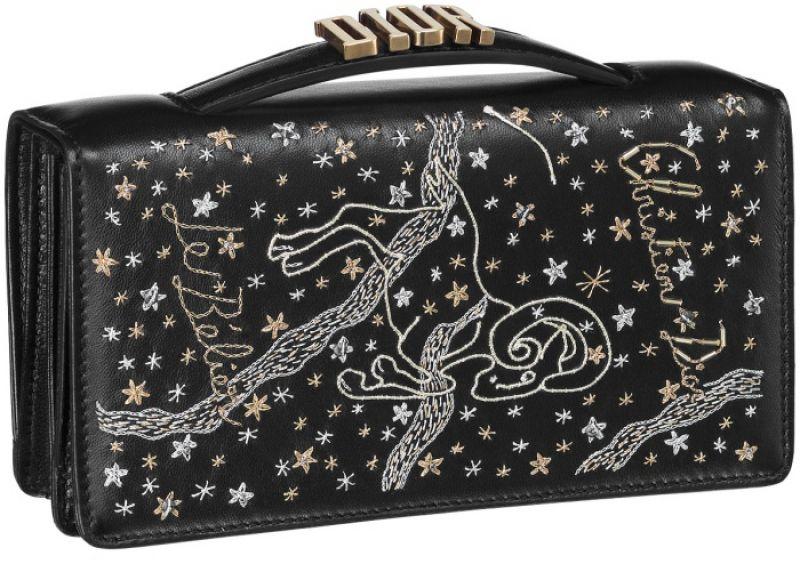 黑色牡羊座手工刺繡小羊皮晚宴包 NT$73,000