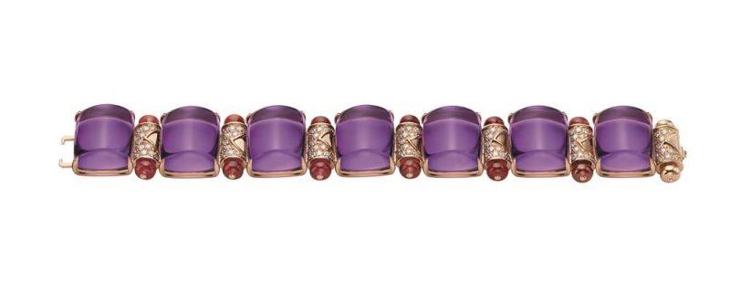 玫瑰金鑲嵌紫水晶與鑽石手鍊,Bulgari