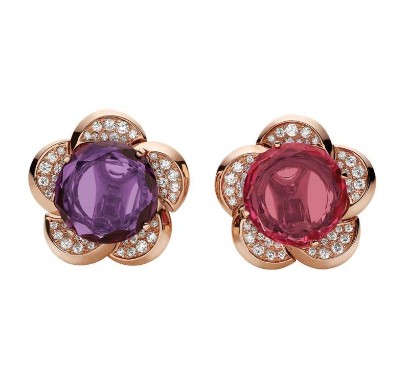 義大利花園Giardini 系列 玫瑰金鑲嵌鑽石與紫水晶和紅碧璽頂級珠寶耳環,Bulgari