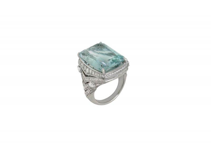 頂級珠寶海水藍寶石鑽石戒指,Bulgari