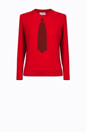 Rykiel For Ever假領帶針織衫(紅) @CLUB DESIGNER $13,600