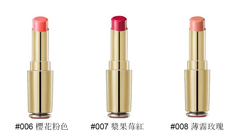 肌本潤唇膏 3g(#006櫻花粉色, #007漿果莓紅, #008薄霧玫瑰),NT1,280。