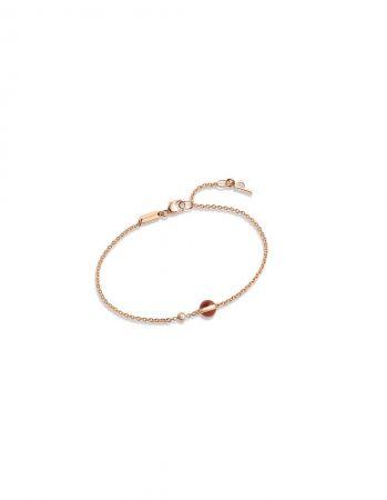 Possession18K玫瑰金手鍊,鑲嵌單顆圓形美鑽 (約重0.05克拉) 及單顆紅玉髓圓珠(約重0.87克拉)G36PB200 台幣參考價格36,500元