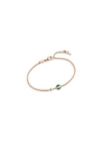 Possession18K玫瑰金手鍊,鑲嵌單顆圓形美鑽 (約重0.05克拉) 及單顆孔雀石圓珠(約重1.25克拉)G36PB700 台幣參考價格36,500元