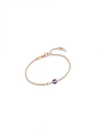 Possession18K玫瑰金手鍊,鑲嵌單顆圓形美鑽 (約重0.05克拉) 及單顆青金石圓珠(約重0.99克拉)G36PB800 台幣參考價格36,500元