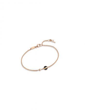 Possession18K玫瑰金手鍊,鑲嵌單顆圓形美鑽 (約重0.05克拉) 及單顆黑縞瑪瑙圓珠(約重0.87克拉)G36PB500 台幣參考價格36,500元