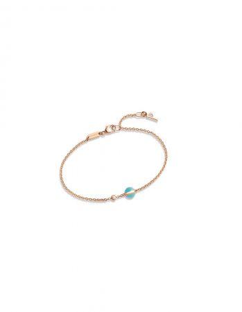 Possession18K玫瑰金手鍊,鑲嵌單顆圓形美鑽 (約重0.05克拉) 及單顆綠松石圓珠(約重0.9克拉)G36PB900台幣參考價格36,500元