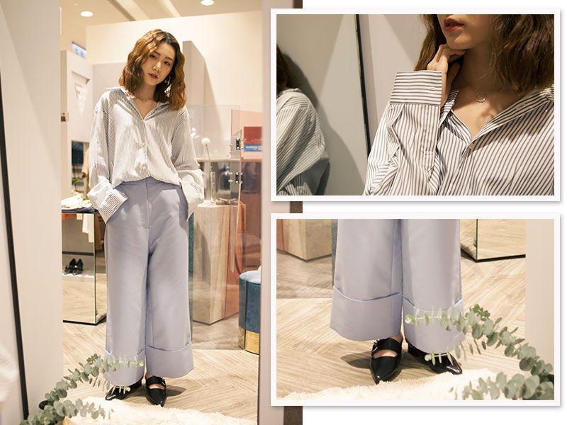 【LOOK 4】個性派不敗條紋必備單品:條紋襯衫+長褲+飾品條紋襯衫是每個人衣櫃中都該有的百搭單品!你可選擇像是版型較為寬鬆的ETHOSENS藍條紋襯衫,搭配熱門的1/2 UN-DEMI 淺藍寬褲,再搭上NULL LEE的鎖骨項鍊展現頸間性感線條,穿出不同以往的獨特與個性。