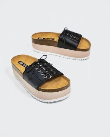 ZARA 綁帶真皮厚底坡跟鞋 NT3490