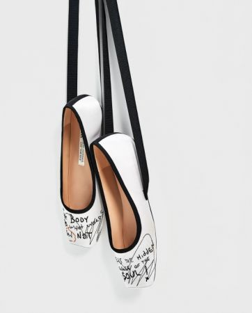 ZARA 刺繡絲綢芭蕾鞋 NT3490