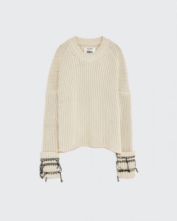 ZARA毛邊袖口針織衫 NT2790