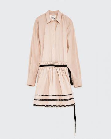 ZARA 波紋布料襯衫式洋裝 NT4490