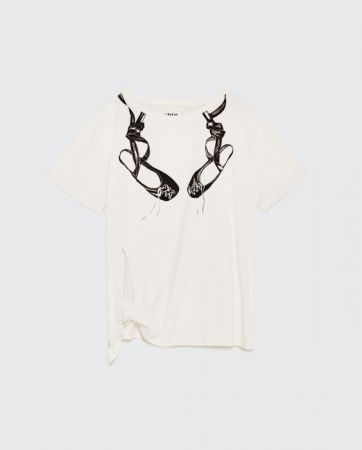 ZARA 側結飾和圖案 T 恤 NT790