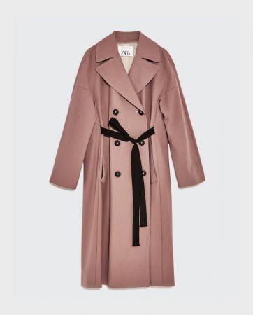 ZARA 粉紅色雙排扣大衣 NT7490