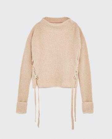 ZARA 綁帶設計喀什米爾羊毛針織衫 NT5490