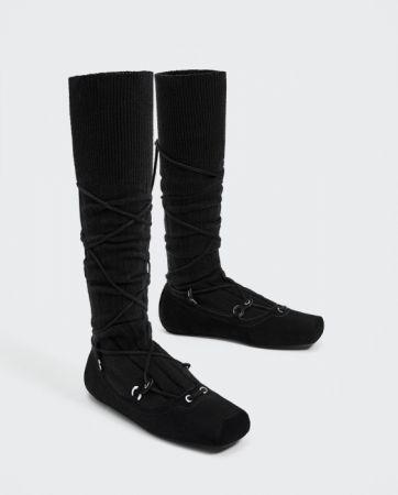 ZARA 襪型綁帶芭蕾鞋 NT3990