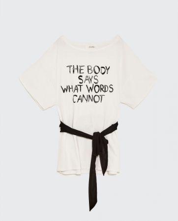 ZARA 繫腰帶和印字 T 恤 NT790