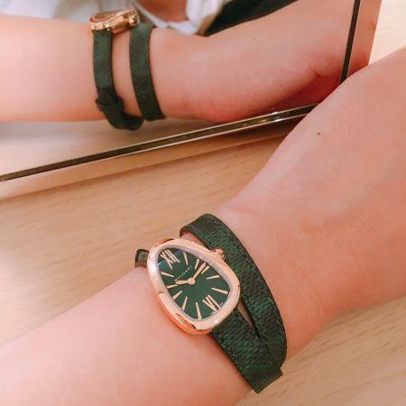 BulgariSerpenti Skin是全球媒體一致看好會熱愛的新款,半客製的服務,從錶殼、錶戴、錶面都可以選擇,一共有312多種變化,超喜歡黃K錶殼配綠色蛇皮錶帶,駝色牛皮復古又時髦,編也好愛!台灣五月上市。