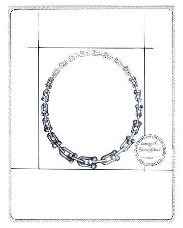 Tiffany HardWear鏈結設計項鍊 手繪稿