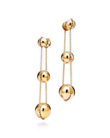 Tiffany HardWear 三層垂墜式球形18K金耳環 NT$96,000